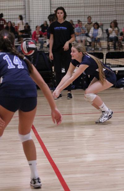 Paige Mascari digs a ball for Santa Barbara.