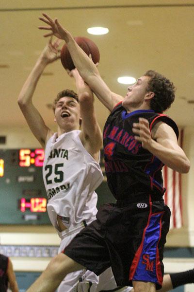 Jack Baker scored 18 points, grabbed 19 rebounds and blocked nine shots in Santa Barbara's win over Ventura.