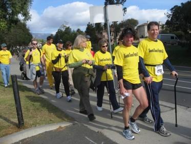 Hal and Fran lead their relay team at the Santa Barbara International Marathon.