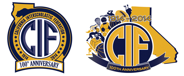 The new CIF logo created by Vasquez (left). Carpinteria's Erin Callaway's 3rd place design (right).