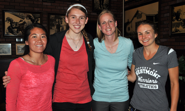 The Westmont coaching staff with Sydney Hedges. From L to R: Selena Ho, Hedges, Kirsten Moore, and Emilie Johnson.