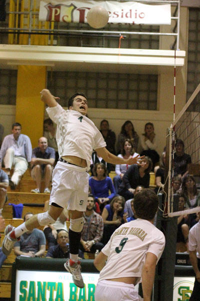 Dons Joe Rafferty hammers home a kill in the second game of the Game 3. (James Crosby Photo)