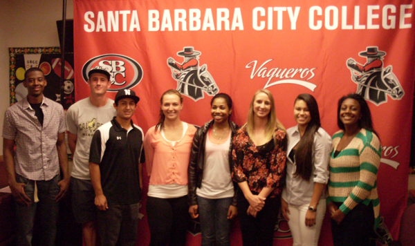 The eight SBCC athletes at a signing ceremony on Wednesday