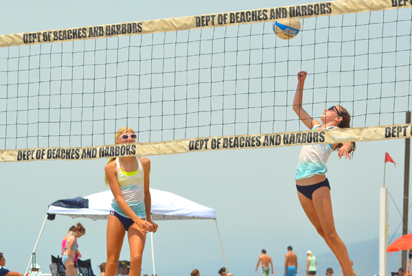 The local beach volleyball team of Robertson and Keara