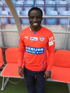 Ema Boateng wearing the jersey of his new team, Helsingborg IF, of Sweden.