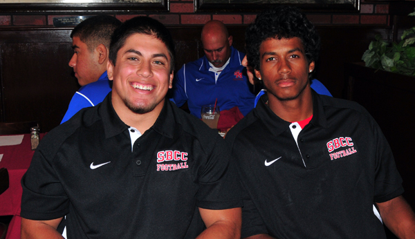 SBCC football players Daniel Gonzalez and Jarred Evans were praised for their play on Saturday by coach Craig Moropoulos during Monday's Round Table press. luncheon.