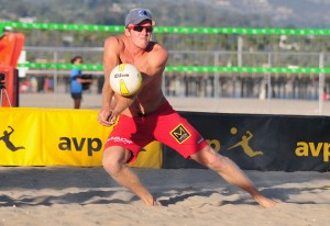 Will Montgomery passes a ball during qualifying match at the AVP Santa Barbara Open.
