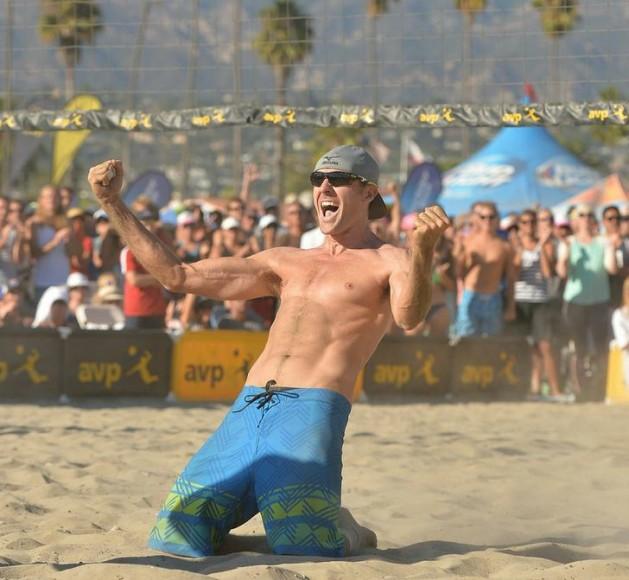 Jake Gibb celebrates winning the AVP Santa Barbara Open title with partner Casey Patterson.