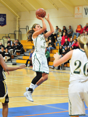 Amber Melgoza takes a jump shot in the lane on Saturday.