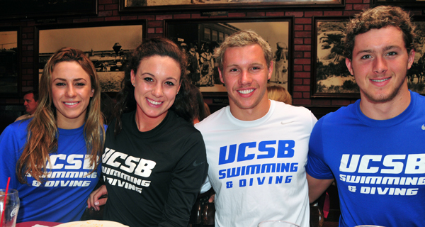 UCSB coach Gregg Wilson brought four freshman swimmers to Monday's press luncheon.