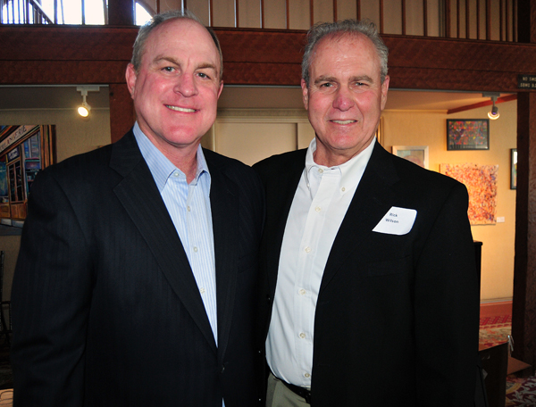 Later on Monday, the Athletic Round Table hosted former UCLA men's basketball coach Ben Howland, with Rick Wilson, at the annual Prelude to March Madness event at the Cabrillo Arts Pavilion. (Presidio Sports Photo)