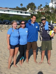 Two local beach volleyball  doubles teams won titles at Will Rogers State Beach. The team of K.C.Collins and Lisa Gera won the Women's AAA and the combo of Will Harris and Matt Schroeder took the Men's AA title.