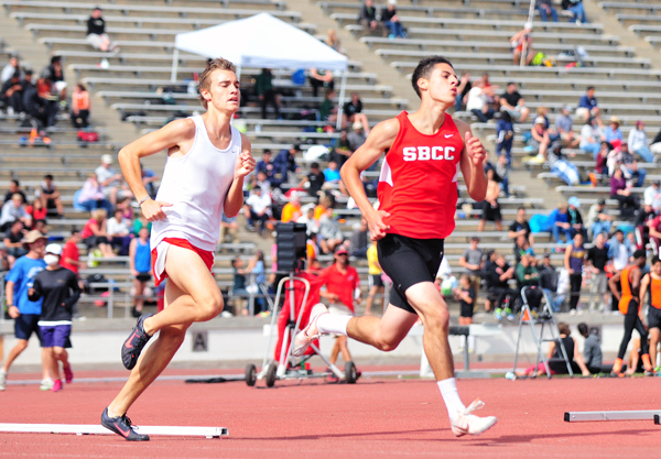 Alex Heuchert of SBCC won the community college 1500 and was fourth in the 800 at the Easter Relays on Friday.