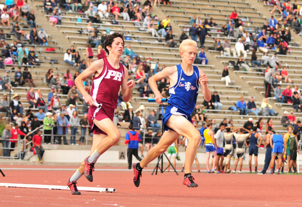 Ryan Sorensen of San Marcos runs in the distance medley relay at the Easter Relays