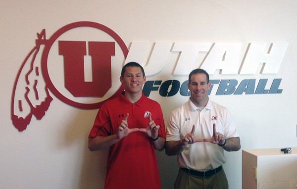 Thomas Lash with Utah Recruiting Coordinator Morgan Scalley.