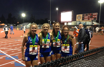 San Marcos' Distance Medley Relay team of Jill Fisher, Erica Schroeder, Natalie Widmer and Adilene Aldapa.