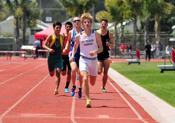 Dos Pueblos' Tyler Bradford approaches the finish line in the boys 800.