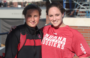 Jamie Neushul, left, with former SBWPC teammate Amanda Redfern.