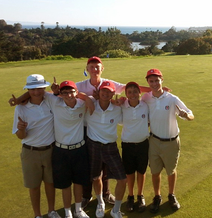San Marcos' golf team celebrates a Channel League Championship at Montecito Country Club on Thursday.