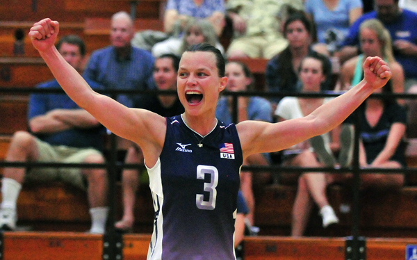 Team USA setter Courtney Thompson celebrates a point on Friday.