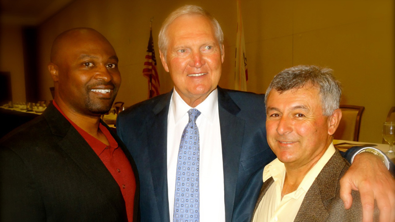 Basketball legend Jerry West with Santa Barbara locals Jerry Howard & Anthony Gomez