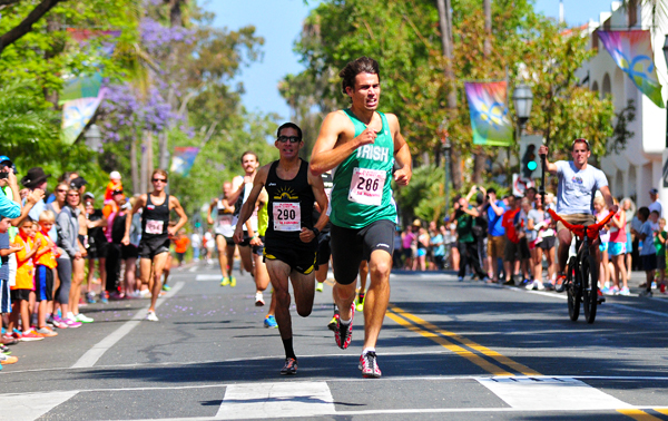 Gabriel leads the Elite Men's Division at the end of Sunday's State Street Mile. (Presidio Sports Photos)