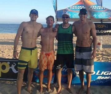 The CBVA Santa Barbara Men's Open finalists, from left, Ian Satterfield, Dillan Bennett, Gregg Weaver and Jon Moran.