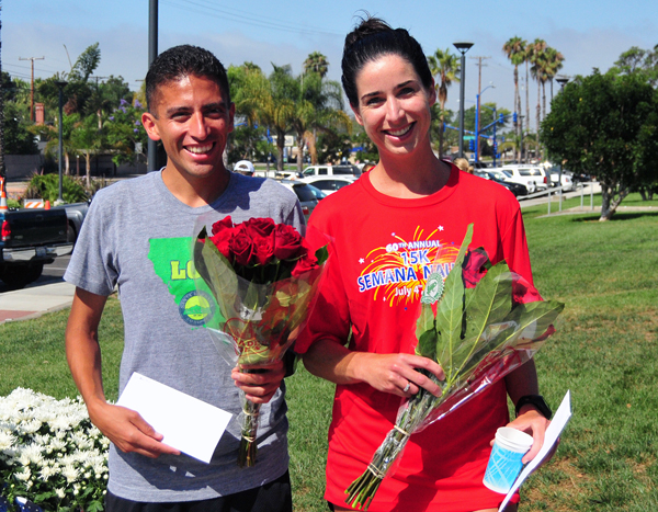 Curly Guillen, left, and Annie O'Donnell, right, were fastest at the 60th Semana Nautica 15k.