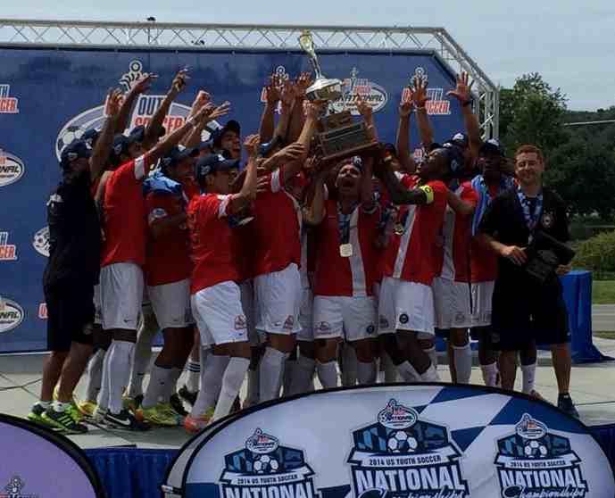 The Santa Barbara Soccer Club's Under-18 boys team celebrates winning the U.S. Youth Soccer National Championship.