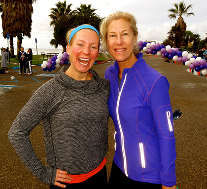 Local fitness personality Jenny Schatzle (left) with Julie Capritto, DVS Board President