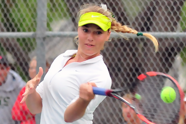Santa Barbara High's Madison Hale, pictured, clinched Monday's match with a third-round victory with partner Lexy Gulden.