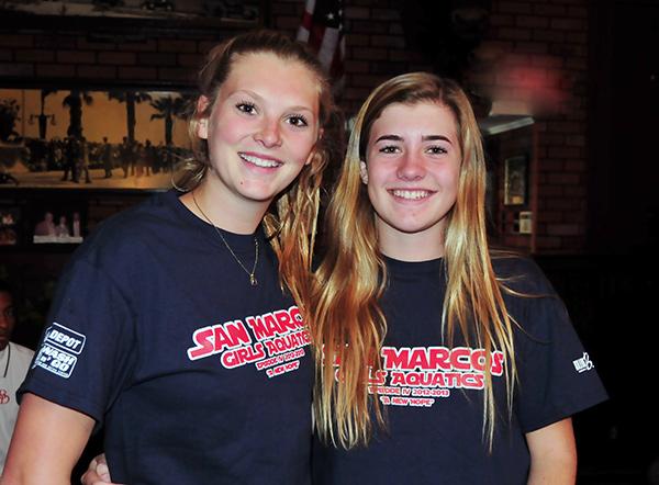 San Marcos senior captain goalie Jenna Phreaner, left, with freshman protege Sophia Trumbull.