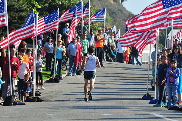 The Santa Barbara Marathon has turned into an annual celebration of Veterans Day. The final mile of the course, called The Veterans Mile, is lined with American Flags.