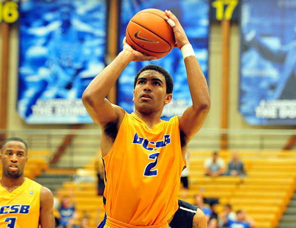 Gabe Vincent helped the Gauchos during an 18-2 run in the second half of Saturday's win at Cal Poly in the Big West opener. (Presidio Sports Photo)