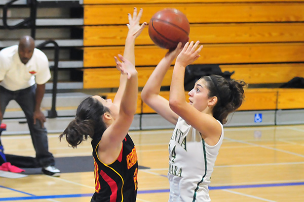 Kimberly Gebhardt takes a shot over a Bakersfield defender.
