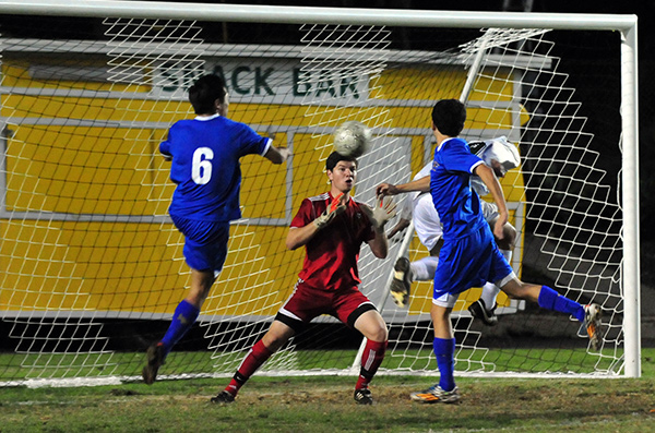 Carlos Hernandez gets behind the defense but can't put his header on frame as Santa Barbara was held scoreless in the first half.