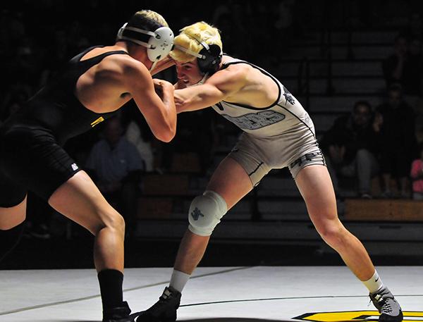 Dos Pueblos' Cameron Cox wrestles against Ventura. (Presidio Sports Photo)