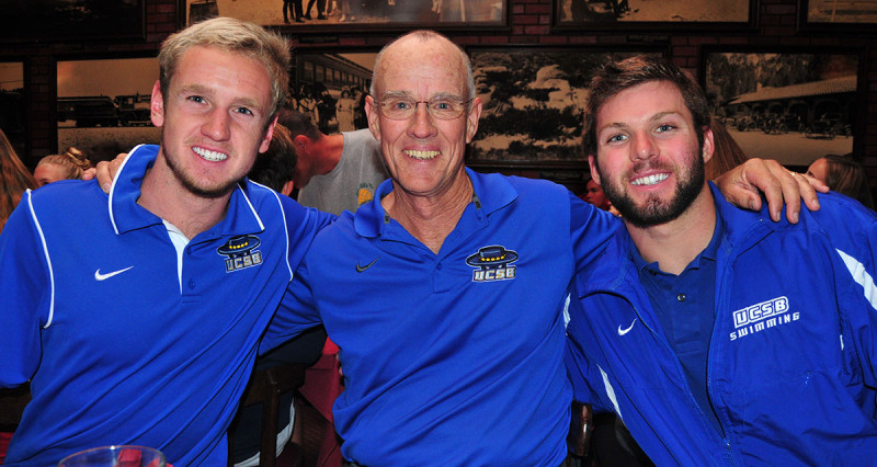 UCSB swimming coach Gregg Wilson with student-athletes Wade Allen, left, and Chris Dotson.