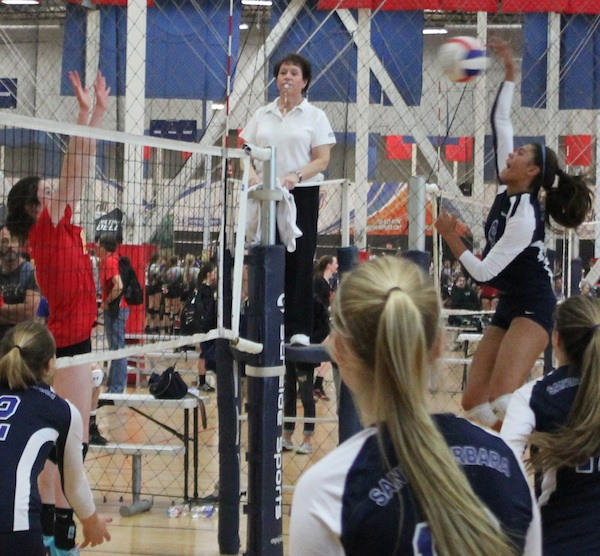 Gabi Peoples takes a big swing on the outside for the Santa Barbara Volleyball Club in a recent SCVA Tournament.