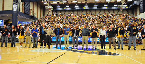 Members of the 1989-90 UCSB men's basketball team was honored on the court on Saturday.