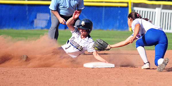Lauren Marmo slides safely into second base for a steal.