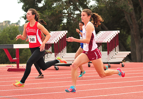 Elysia Mitchell came from behind on the anchor leg and gave Westmont the victory in the 4x800 relay.