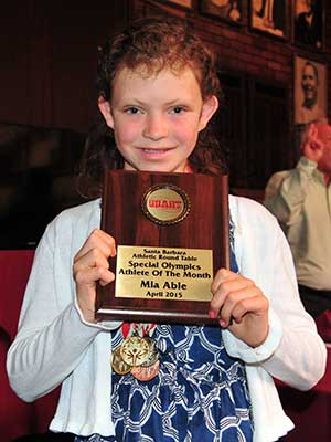 Mia Able, the Special Olympics Athlete of the Month.