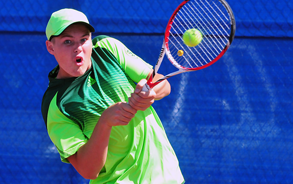Miles Hale won two sets on Thursday on San Marcos' courts.