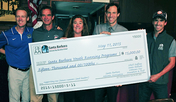 The Santa Barbara Athletic Association presented a check for $15,000 to the high school track and running programs.