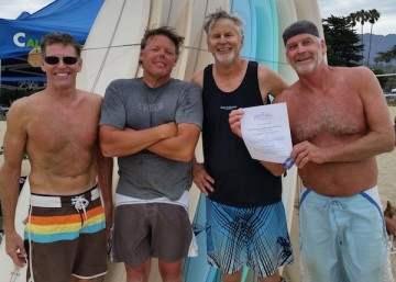 In the 55-over final, Jeff Rydberg (second from right) and Jim Harmon defeated Ed Gibbs and Matt Bergdahl.