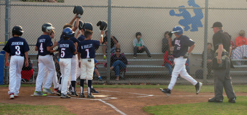 GVSLL 12U All-stars salute Henry Manfredonia (#27) after his 3-run blast to open scoring in the first. GVSLL went on to beat Carpenteria 20-0 and complete a 6-0 pool play sweep.