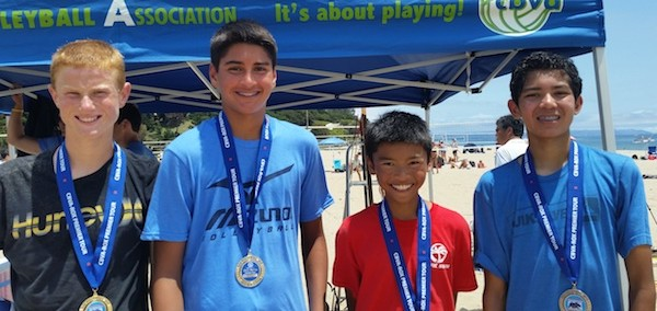 The team of Cole Gillis, left, and Keagan Benson defeated Aaron Phan and Cruz Marin in the Boys 14s final.