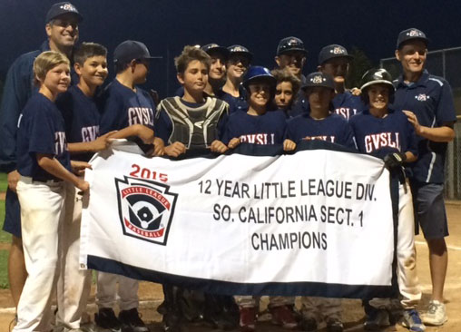 The Goleta Valley South 12U Section 1 Champions include Manager Tim Vom Steeg, Aiden Johnson, Buddy Melgoza, Henry Manfredonia, Jackson Haskell, Ian Oakley, Sam Russell, Jared Vom Steeg, Will Trautwein, Coach Bill Oakley, Nick Oakley, Connor Hess, Caden Vom Steeg, coach Todd Oakley