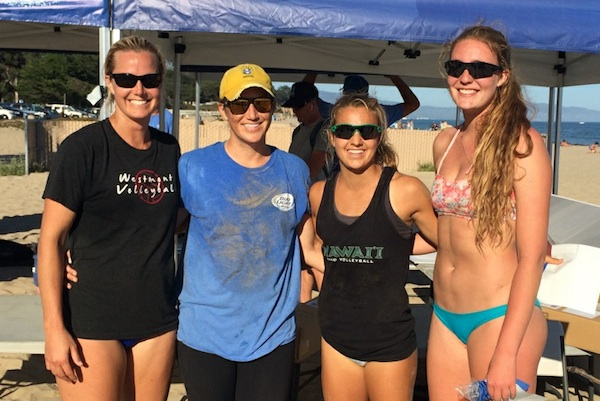 The all-local final featured, from left, Patti Cook and Dana Kabashima against Katie Spieler and Torrey Van Winden. Spieler-Van Winden won the title in three sets.